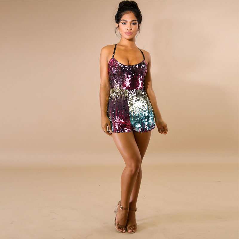 Sexy Deep V Neck backless Sequin Rompers Womens Summer Sexy Short   Jumpsuit   Glitter Club Party package hip   Jumpsuit   Playsuit