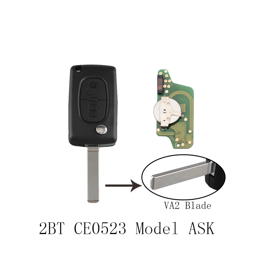 433Mhz Car Key for PEUGEOT 207 307 308 407 807 CC for CITROEN C2 C3 C4 C5 Picasso Berlingo CE0523 ASK 2Button VA2 PCF7941 ...