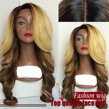 honey blonde brazilian hair ombre wig Synthetic Hair Heat Resistant  hair Lace Wigs Cosplay lace front Wigs For black Women