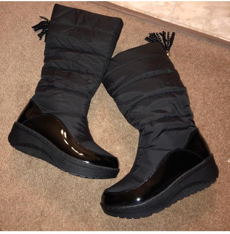 Women Snow Boots Winter Warm Platform Fur Fringe Shoes 32