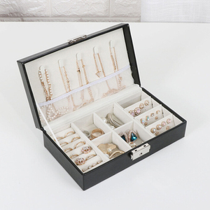 Black And White Pure Color Jewelry Box Ring Ear Stud Necklace Multi-Functional Jewelry Storage Box
