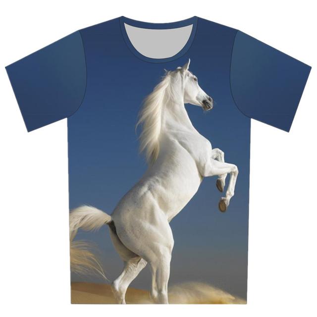 2016 lobo cavalo elefante Bull Terrier Galaxy imprimir t-shirt camisa de manga curta crianças 3D T Shirt menina do menino moda T desgaste do verão Top