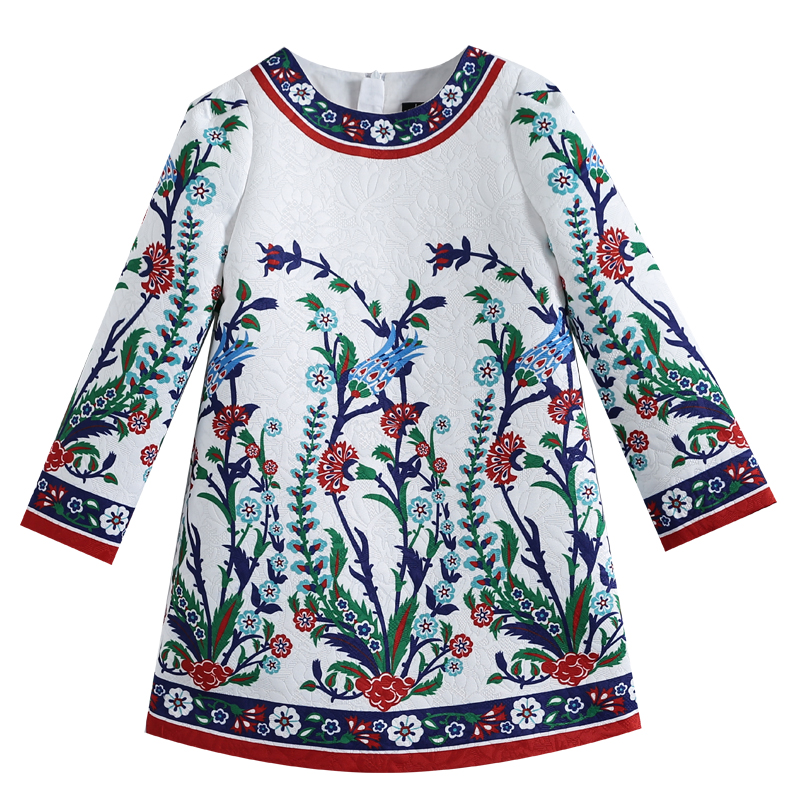 Beenira Girls Dress 2017 New Chinese national style Kids Long-Sleeve Flower Pattern Dress Design For Children 4-14Y Winter Dress beenira girls dress 2017 new european and american style kids printed pattern long sleeve dress for 4 14y children autumn dress