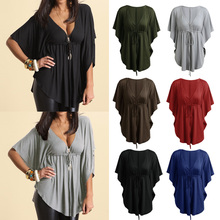 Sexy V Neck Batwing Sleeve Loose Casual Lace-up Tee Shirt