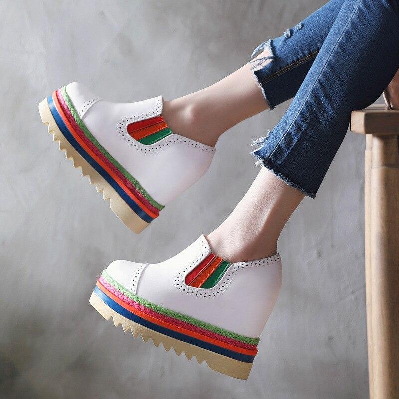 Hauteur Croissante Haute Super Plate forme Contraste Chaussures Occasionnels Mocassins Wedge ever Femmes Couleur Doux Cuir Yd Sneakers white Talon Black 40Pv5x