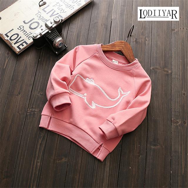 2017 Novo T-shirt Das Meninas Meninos Roupas, animais Estilo Rosa Branco Roupa Dos Miúdos, Outerwear Manga Longa Top Tee Roupas casuais