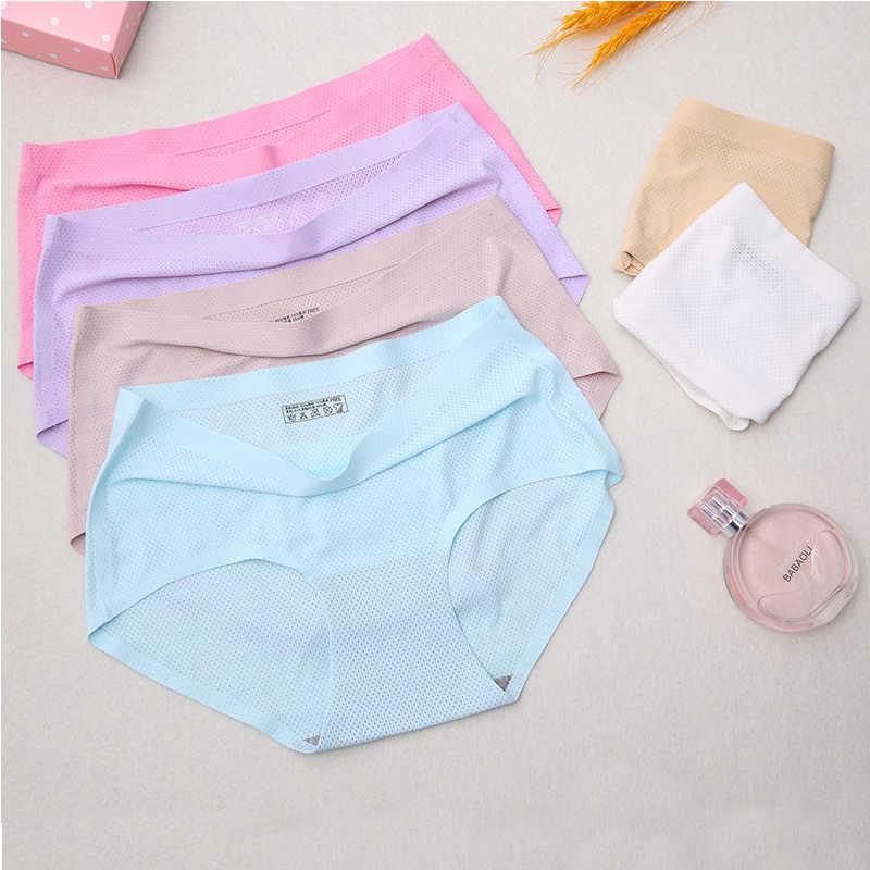 Livre shiping sexy cuecas femininas sem costura calcinha kawaii menina de cor sólida calcinha malha respirável crotchless confortável