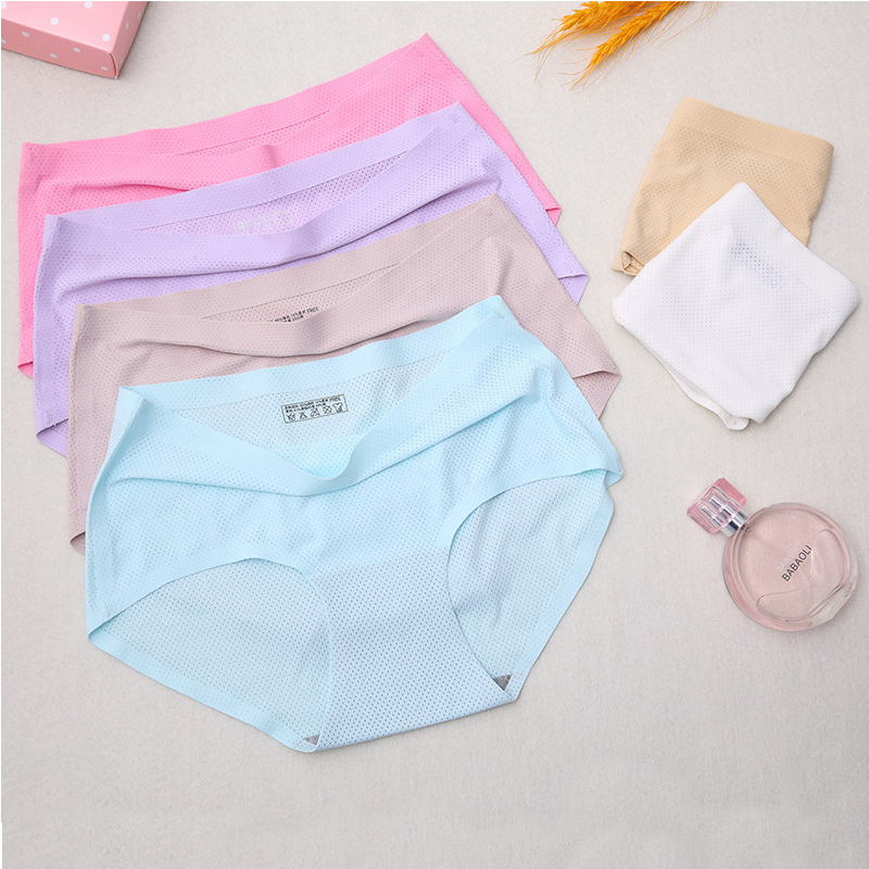 free shiping sexy women's   panties   Briefs seamless   panties   kawaii Girl Solid color   panties   Mesh Breathable crotchless Comfortable
