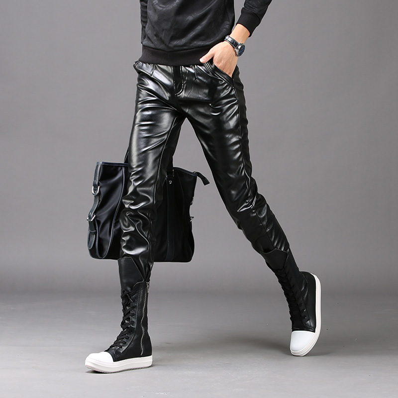 2018 New Fashion Autumn Winter Men Skinny Leather Pants Faux Black Joggers Pants male Motorcycle Trousers For Men Szie 28-36 стоимость