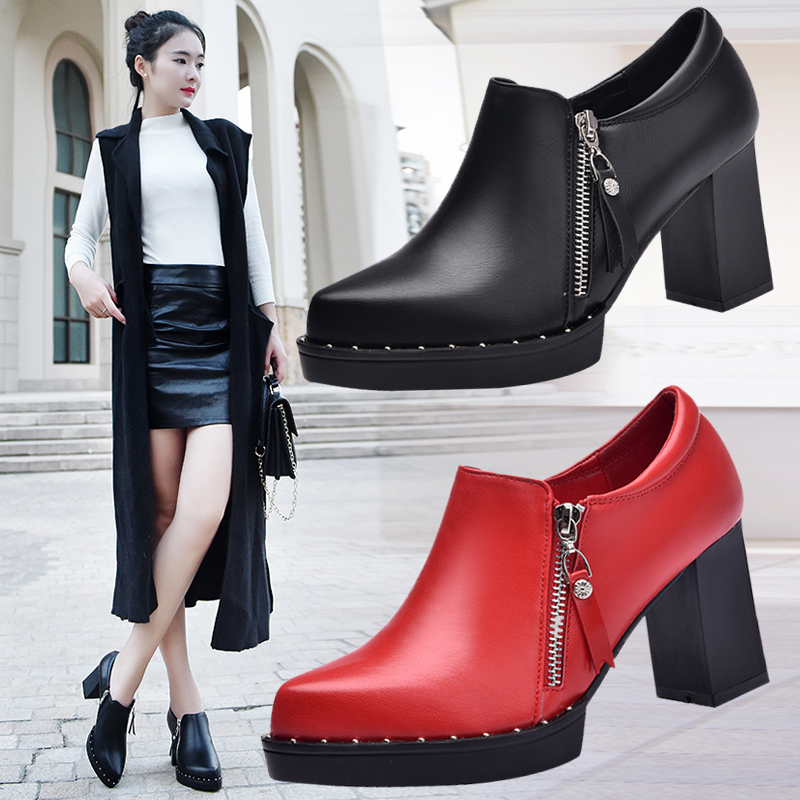 ФОТО New size 33-43 pumps women genuine leather shoes high-heeled shoe rivet pointed toe plus size 40-43 women's small szie shoes