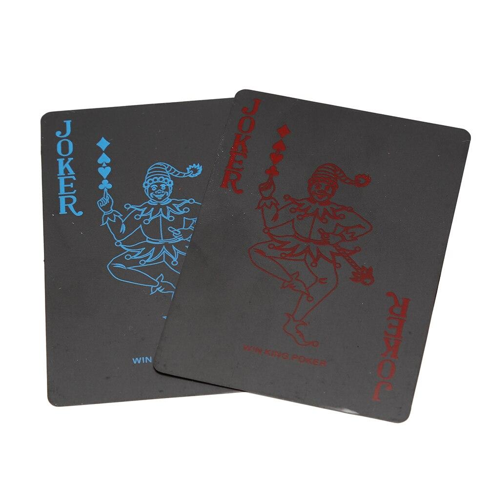 1 Pz Impermeabile Deck Poker Plastica Pvc Carte Da Gioco Set Colore Nero Poker Set Di Carte Classici Giochi Di Poker Trucchi Magici Strumento Irrestringibile