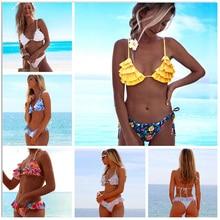 Купить с кэшбэком 2019 New Bikinis Women Swimwear Push Up Swimsuit Ruffle Bikini Set Print Brazilian Biquini Bathing Suit Swim Wear Beach Female