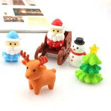 5 шт./упак. Мини Kawaii ластик с изображением Санта-Клауса; Рождественская елка со снежинками, с принтом «Олень», школьные канцелярские принадлежности ластик стирательная резинка подарок для детей