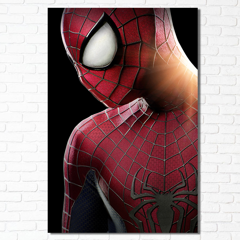 Cool Amazing Spider Man Posters Superhero Wall Poster Kids Boy Room Spiderman Canvas Art Picture Home Decor Silk Print Black image