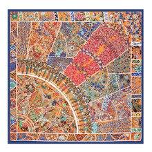 طباعة الأزهار كبيرة مربع الحرير وشاح الفاخرة العلامة التجارية النسائية حك وشاح شال الحجاب الهندي مهرج وشاح بالجملة 130*130 سنتيمتر