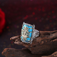 925 Silver Turquoise With Golden Flower 4