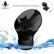 Waterproof Mini Invisible Bluetooth Earphone Wireless Magnatic charging Earphone Earbud Sport headset headset Micro Portable