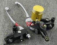 Frete grátis Motocicleta frente cilindro mestre do freio bomba de freio e embreagem assento adequado para 22mm-amarelo