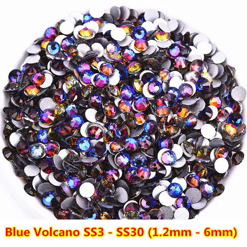 New Arrival 1440pcs AAAAA Quality Blue Volcano Non Hot Fix Rhinestones Strass Iron on Fabric Stones for Nails Design SS3 to SS30 in Rhinestones Decorations from Beauty Health