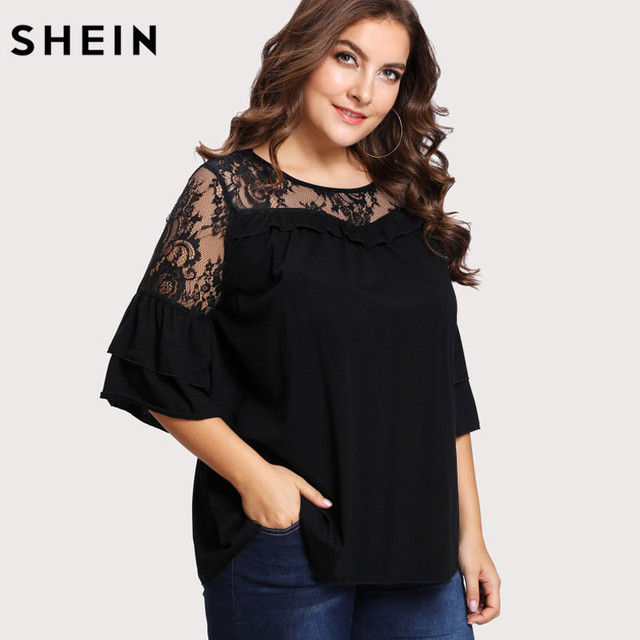 ead8c67ae65 SHEIN Black Plus Size Lace T-shirt Women Floral Lace Yoke Solid Tee Fashion  Ruffle