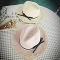 2016 New style high quality Sweet lace bow strawhat beach cap sun-shading hat sun hat women's big folding brim beach sunhat