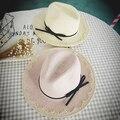 2016 nueva alta calidad del estilo dulce del cordón del arco strawhat casquillo de la playa del sombrero del sol shading del sombrero del sol de la mujer big plegable sombrero de ala playa