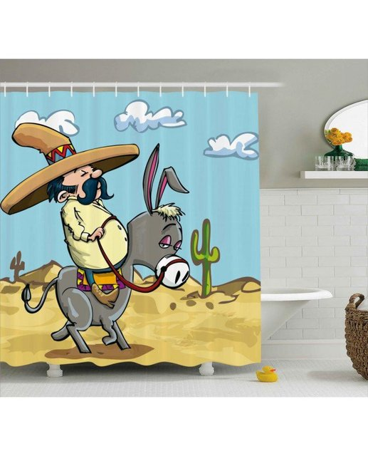 Charmant Cartoon Shower Curtain Mexican Man On A Donkey Print For BathroomWaterproof  And Fabric For Kids