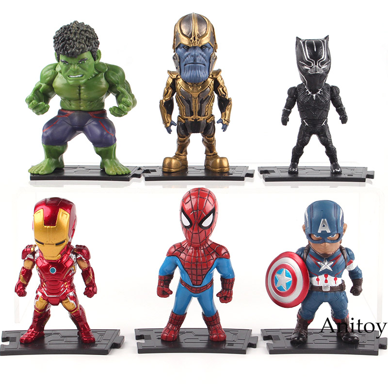 Marvel Action Figure Avengers Captian America Thor Hulk Iron Man Spiderman Thanos Black Panther Figures Toy 6pcs/set 8-9cm 6pcs set the action figures batman spider man iron man hulk thor captain america action toy figures boys girls toy