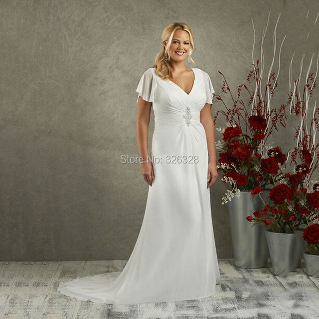 New 2016 Simple Long Beach Wedding Dresses Plus Size Short Sleeve