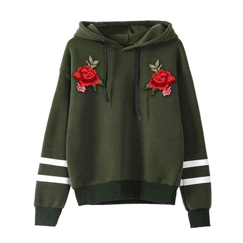 b8e0642b EFINNY Womens Printing Rose Hoodies Sweatshirt Fleece Long Sleeve Appliques  Pullover Tops 2018 New Arrival-in Hoodies & Sweatshirts from Women's ...