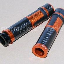 """Оранжевый мотоцикл универсальный 7/"""" 22 мм рукоятка руля ручки наконечники руля углеродного волокна"""