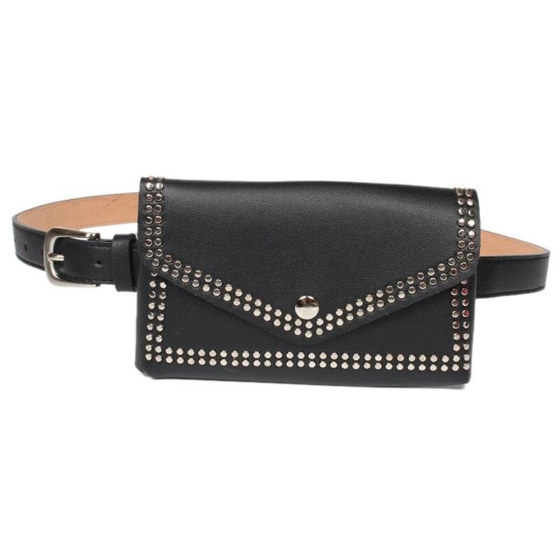 Women Rivet Waist Belt Pack Casual Waist Bag PU Leather Women Bags Travel Belt Wallets Fanny Bags Ladies For iphone8/+