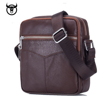 New Genuine Leather men's Messenger Bags fashion Cow Leather Men Business Crossbody Bags double zipper Shoulder Bag for male Cross Body Bags
