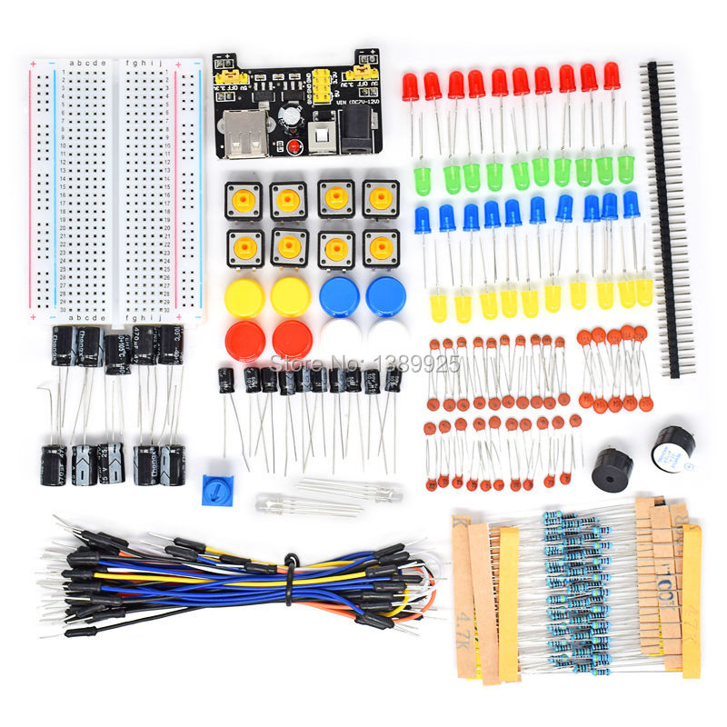 Starter Kit For Ar-du-ino Resistor Electronic Fans Kits Breadboard Cable Resistor Capacitor LED Potentiometer
