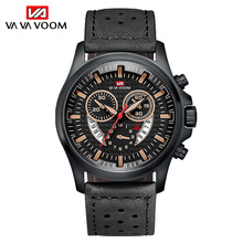цена Sports Mens Watches Fashion Strong Leather Wrist Watch for Male Waterproof Complete Calendar Quartz Clock reloj deportivo hombre онлайн в 2017 году