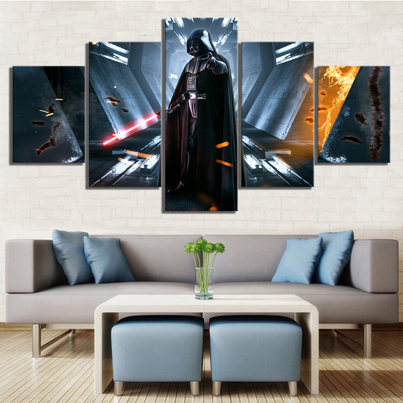5 Piece HD Picture Darth Vader Star War Movie Poster Painting Video Game Star Wars Poster Fantasy Art Canvas Paintings for Wall image