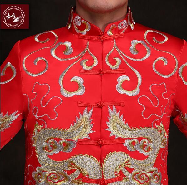 Kineski stil mladoženja vjenčanja duga haljina tang odijelo muško - Nacionalna odjeća - Foto 3