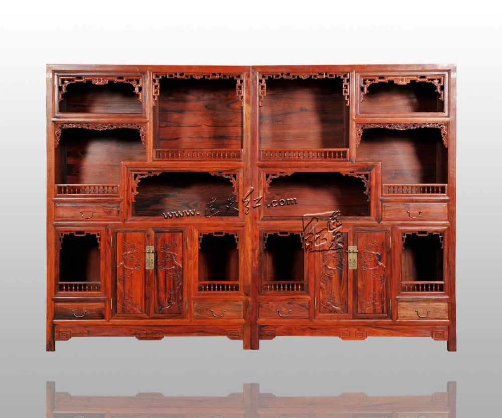 Chinese antique Solid Wood Bookcase Curio Cabinet Tea Filing Show Stand Rosewood Magazin ...