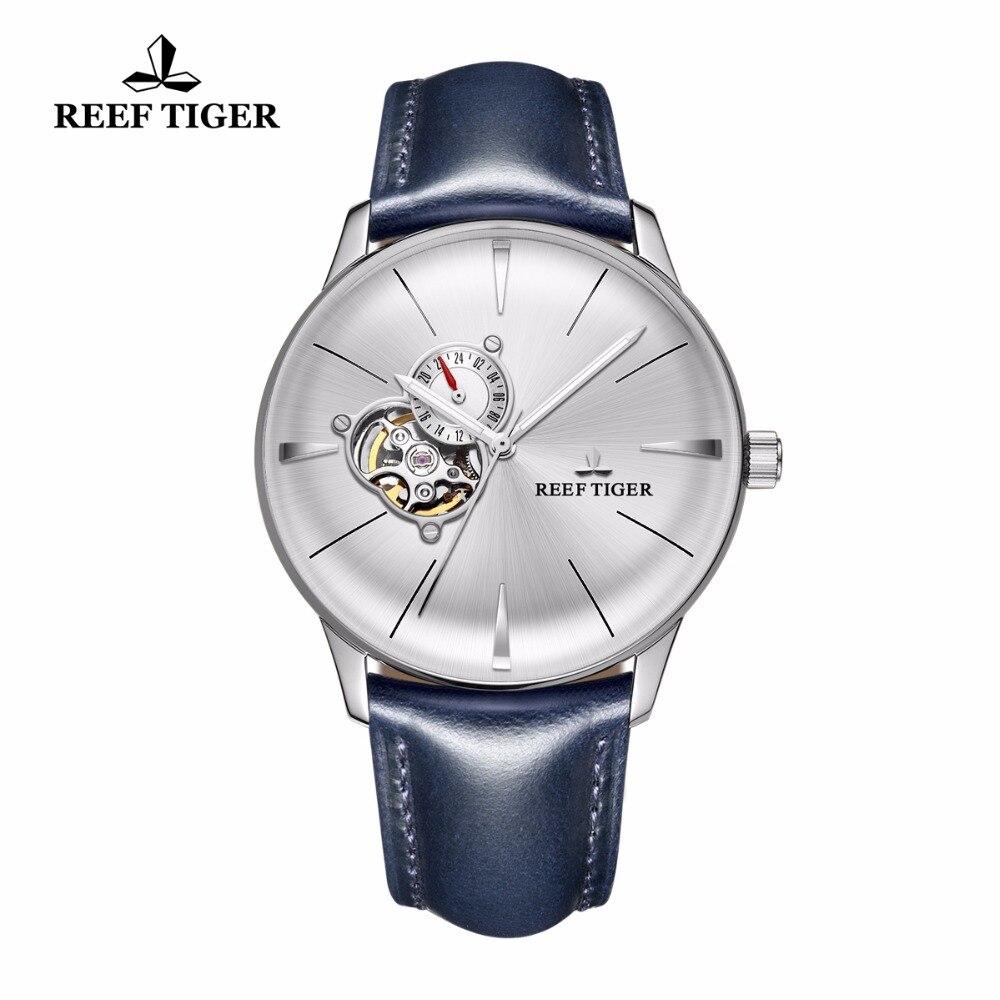 Новый Риф Тигр/RT платье Часы для Для мужчин синий кожаный Сталь часы выпуклая линза Стекло Tourbillon Автоматическая Часы rga8239