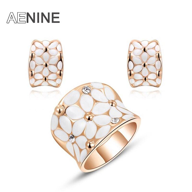 AENINE Rose Gold Color Flower Jewelry For Women Hochzeit Schmuck Rings+Earrings Enamel Jewelry Sets for Bridal L2070127650b