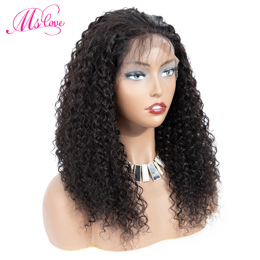 360 Lace Frontal Curly Human Hair Wig Natural Color Bleached Knots Ms Love Brazilian Remy Hair Wigs With Baby Hair