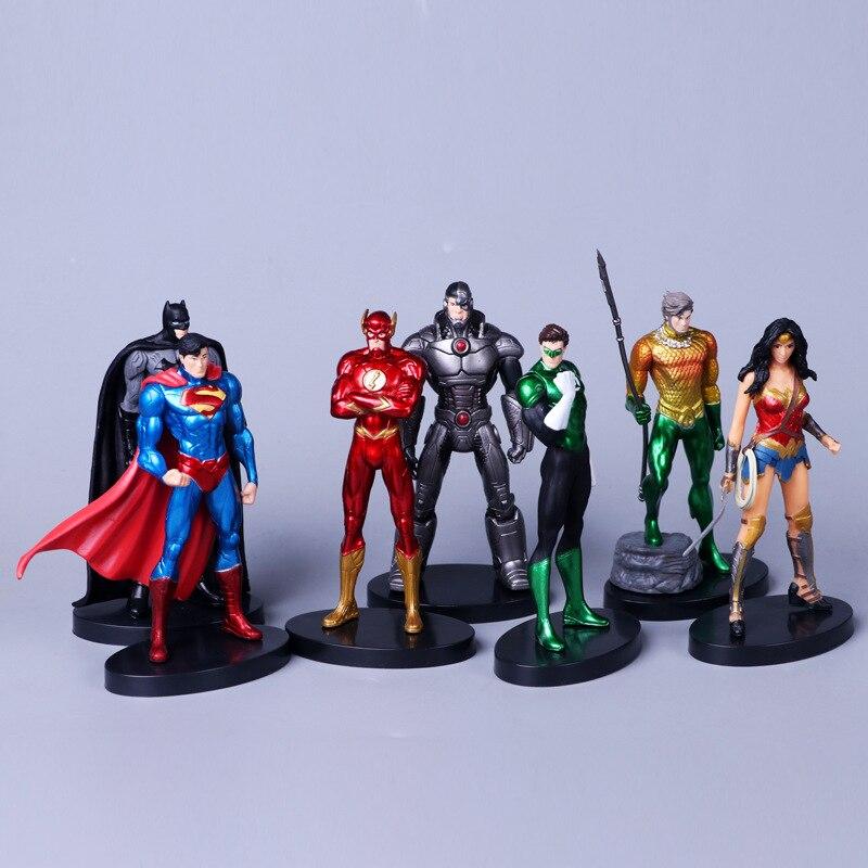 Аниме супергероев Супермен Бэтмен Wonder Woman флэш-зеленый Фонари Аквамен киборг PVC Фигурки Модель Дети Игрушечные лошадки куклы