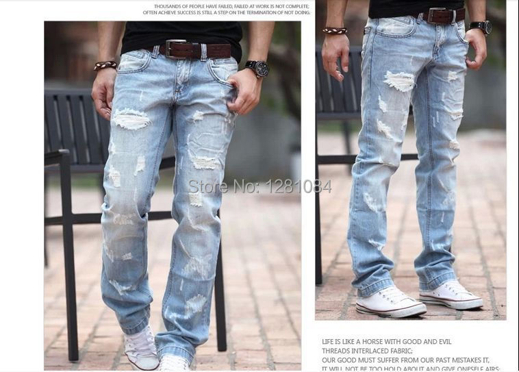 Aliexpress.com : Buy Free Shipping Ripped jeans for men Blue jeans ...