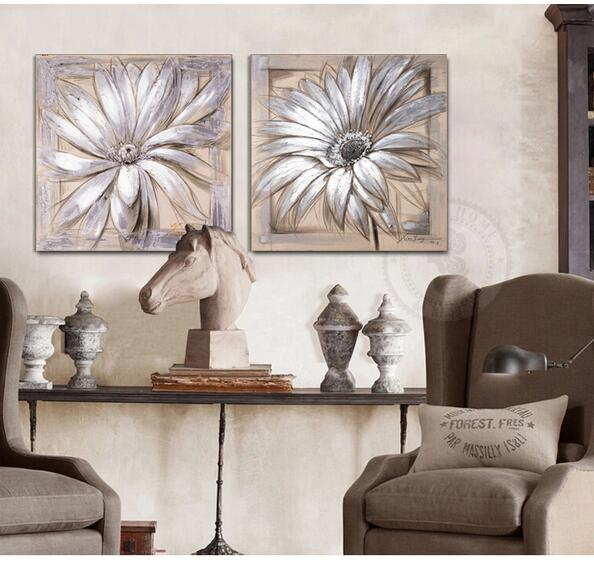 Gerbera Daisy Flower Linen Modern Pop Art Oil Painting On Canvas Wall Art Home Decor Living Room