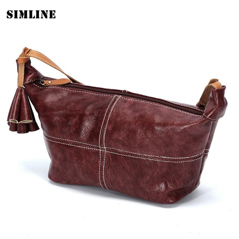 Brand Vintage Designer Genuine Leather Cowhide Women Female Small Tote Handbag Shoulder Messenger Crossbody Bag Bags For Ladies