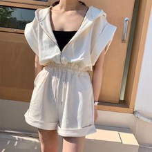 2019 Casual Summer Women Loose Playsuits Solid Fashion Hooded Romper Streetwear