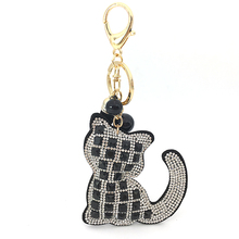 Crystal Rhinestone Leather-based Cat Keychain Leather-based Tassel Pendant Memento Presents Couple Key Chain Key Ring Dangle Bag Charms Pendant
