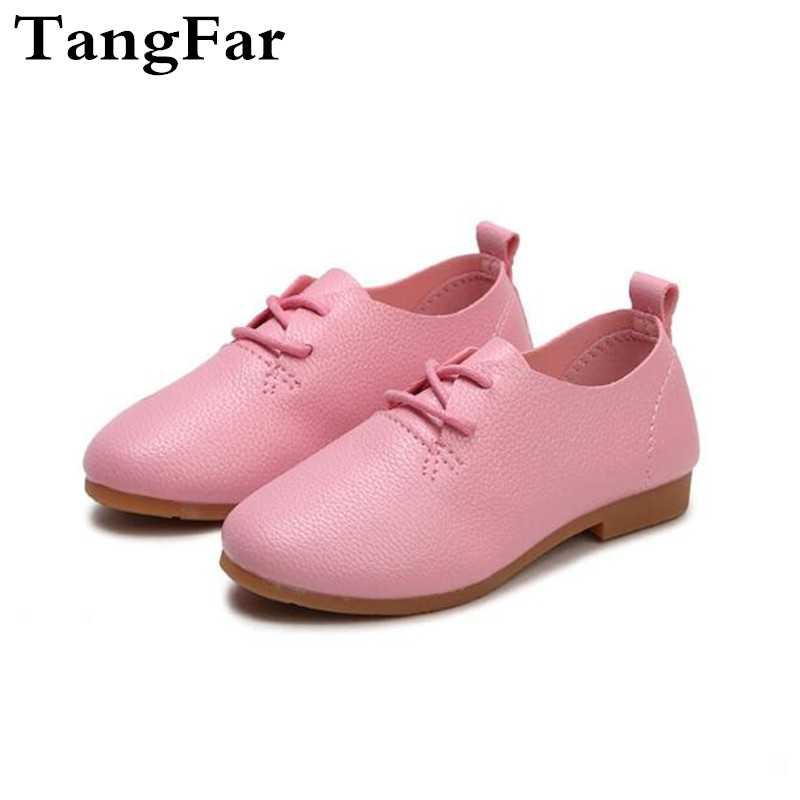 2018 Spring Toddler Fashion PU Leather Sneakers Baby Girl Brand Kid Black Children Soft-soled Lace Up Shoe