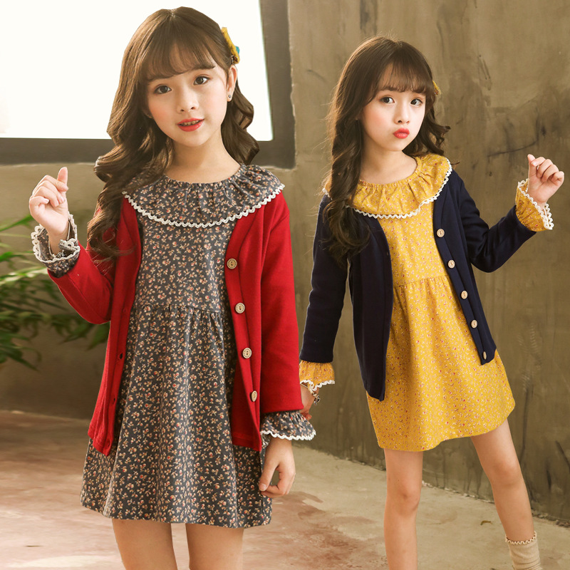 2018 autumn clothing Big lotus leaf collar long flare sleeve Invisible zipper dresses single breasted V-neck sweaters girls sets
