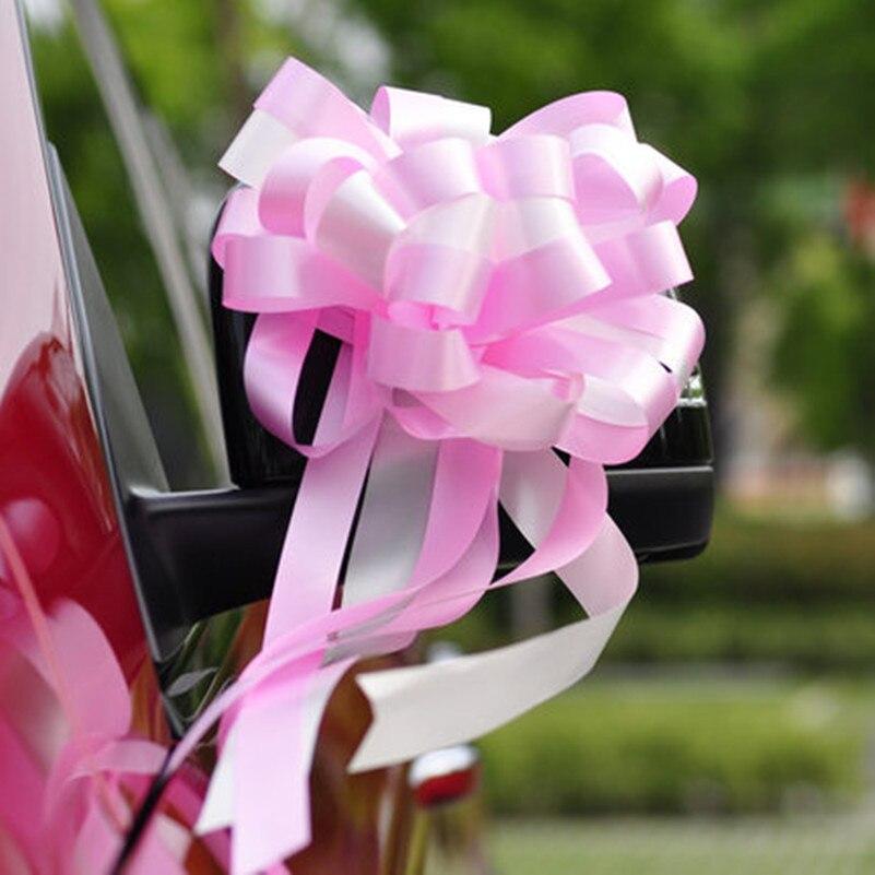 결혼식 장소 장식을위한 50pcs / Lot 웨딩 자동차 장식 두 색상 잡아 당김 꽃 DoubleLayer 꽃 공
